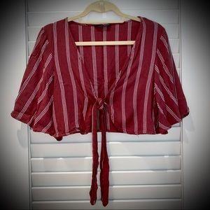 American Eagle Striped Tie-Front Crop Top
